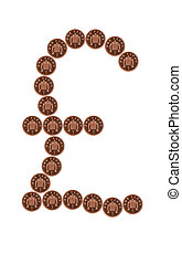 Pounds from pennies. - Pound symbol made from pennies. ...