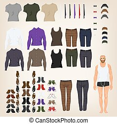 poupée, haut, tissu, vecteur, hipster, assortiment, robe