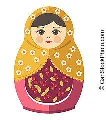 poupée, ornement, nesting, matryoshka, russe, ou