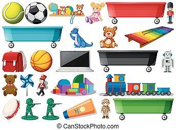 poupée, teddies, collection, sports, train, inclure, jouets, balles, informatique