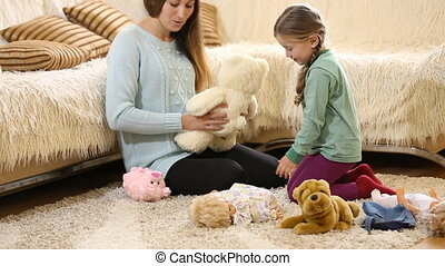 poupées, jouer, maman, enfant