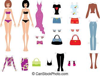poupées, papier, vêtements