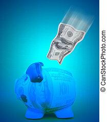 poupança, conceito, dólar
