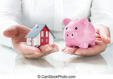 poupança, hipoteca, conceito