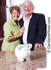 poupanças aposentadoria, para, par velho