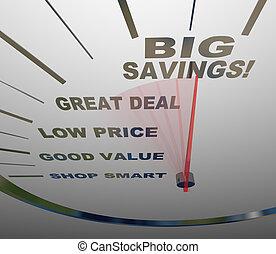 poupanças grandes, -, velocímetro, medidas, como, poupar
