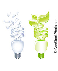 poupar, conceito, bulbo, energia