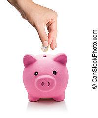 poupar, conceito, -, euro, moeda, em, piggy