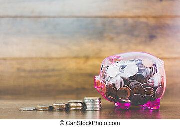 poupar, conceito, moeda, em, cofre