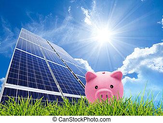 poupar, conceito, photovoltaic