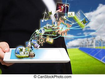 poupar, fluxo, pc tabela, energia, célula, campo, solar, imagens, turbina, vento