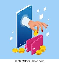 poupar, ou, dinheiro, invoice., isometric, online,...
