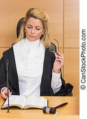poupe, juge, lecture, elle, notes