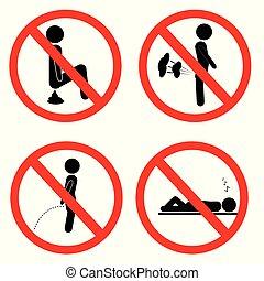 poupe, simple, signe, prohibition, fart, sommeil, pas, pipi