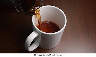 Pour coffee into a mug.