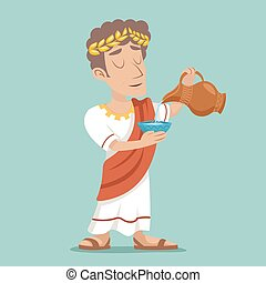 Pour drink jug bowl Roman Greek Retro Vintage Businessman Cartoon Character icon Water Vine Design Vector Illustration