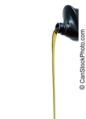 Pour of oil from the gallons Black.White background