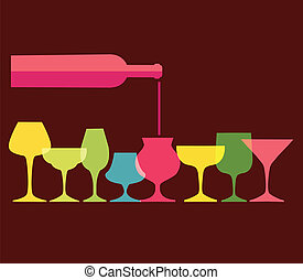 pour of wine into wine colorfull glasses, vector...