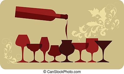 pour of wine into wine glasses, on retro background