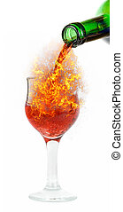 pour red fire wine