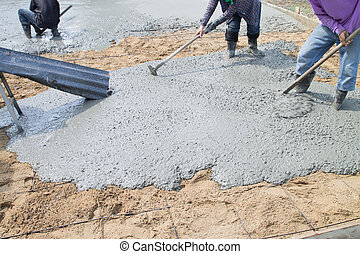 Pour the cement floor.