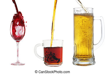 pour wine into glass - pour different drinks  into glasses