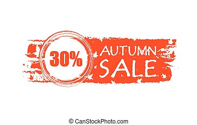 pourcentages, 30, vente, automne, v, bannière