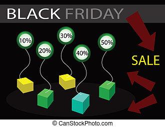 pourcentages, vendredi, vente, étiquette, escompte, noir, bannière