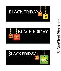 pourcentages, vendredi, vente, étiquette, escompte, noir