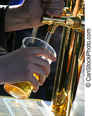 The barman pours beer into a glass