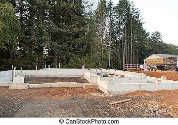 Poured Concrete Foundation for New Home Construction
