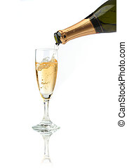 Pouring a champagne flute for celebration time