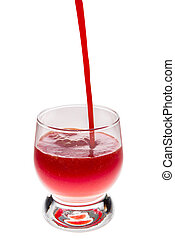 pouring a glass of tomato juice