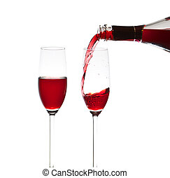 Pouring a glass of wine, close-up