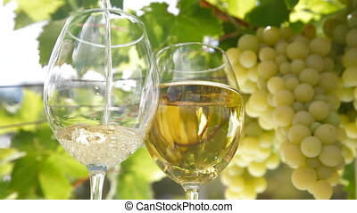 Pouring a Glass of Wine - Pouring a Glass of White Wine