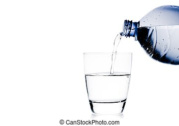 pouring a glass with water trough blue bottle and space for text on white background