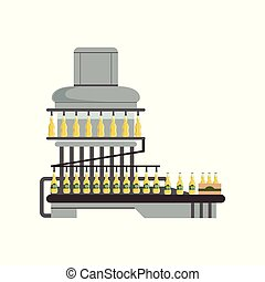 Pouring alcoholic drink in glass bottles, conveyor automatic line, beer brewing process vector Illustration on a white background