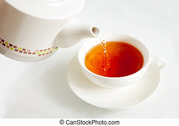 Pouring boiling water into a tea cup