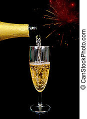 Pouring champagne on New year's Eve
