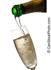 Pouring champagne.
