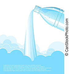 pouring clean water background. Vector bottle - pouring blue...