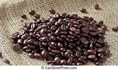 Pouring coffee beans