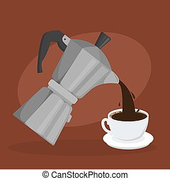 Pouring coffee from french press into the white cup