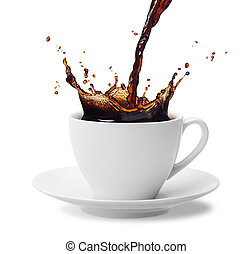 pouring coffee - pouring a cup of black coffee creating ...