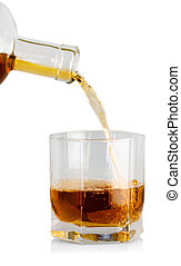 pouring cola splash into glass isolated on white
