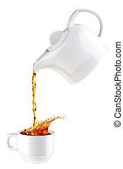 Pouring cup of tea - CLoseup of teapot pouring tea into cup,...