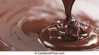 pouring dark melted chocolate