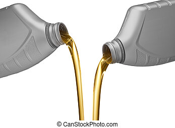 two bottles of engine oil being poured