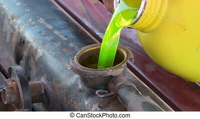 Pouring Fresh Engine Oil, Altiplano, Bolivia - Extreme...