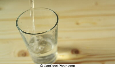 Pouring glass of water.